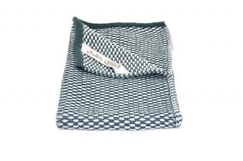 Solwang Gästehandtuch Natur / Petrol gestrickt Handtuch Bio Baumwolle 32x47