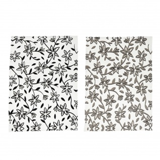 Bloomingville HANNAH Geschirrtuch Weiß Grau Blumen Geschirrhandtuch 2er Set