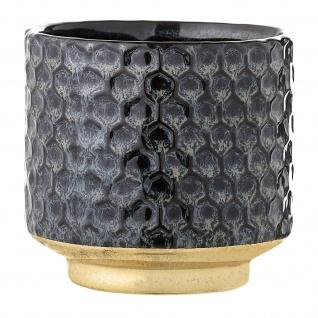 Bloomingville Blumentopf Blau 10cm Übertopf Keramik Topf Design Gold Sockel Deko