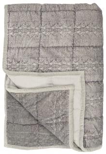 IB Laursen Quilt SAMT LILA Aufdruck Decke 130x180 Kuscheldecke Tagesdecke Velour