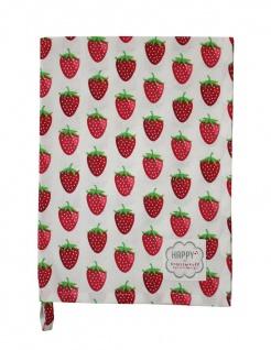Krasilnikoff Geschirrtuch ERDBEERE Weiß Geschirrhandtuch Erdbeeren rot Baumwolle