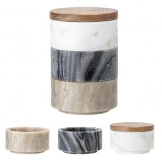 Bloomingville Dose Marmor mit Deckel Holz 3er Set weiß grau braun Stapelbox