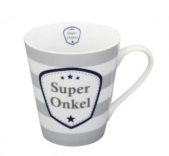 Krasilnikoff Happy Mug Henkel Becher SUPER ONKEL Streifen Grau Stern blau