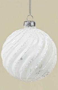 Weihnachtskugel SARAH Weiß Streifen Weihnachtsdeko Tannenbaum Schmuck