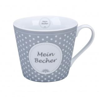 Krasilnikoff Happy Cup Becher MEIN BECHER Grau Punkte Kaffeebecher 300 ml Tasse