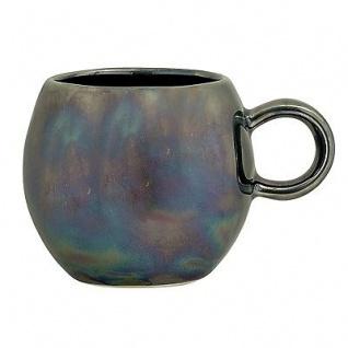 Bloomingville Tasse Paula blau metallic Becher mit Henkel 300 ml Keramik