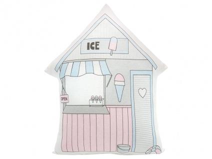 Greengate Kissen ELLISON Weiß / Rosa 30x40 mit Füllung Haus Form Motiv ICE Laden