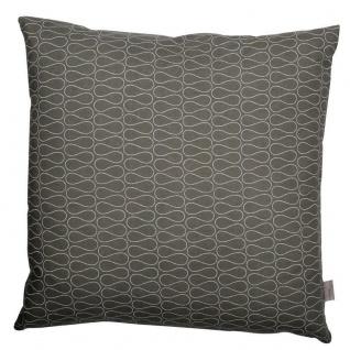 A.U Maison - Kissen Omnia mit Füllung dunkelgrau Linien Wellen förmig weiß 50x50