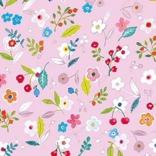 Ambiente Servietten TILLY LILA Blumen Rosa bunt Blätter Früchte Pink 20 St 33x33