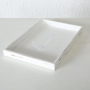 Deko Tablett ANKER Holz Weiß Maritim Vintage 30 cm Rechteckig maritime Tischdeko