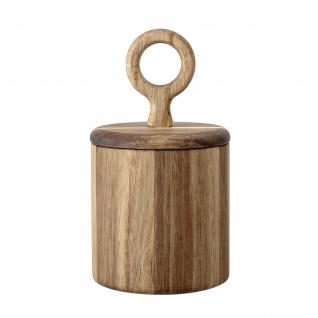 Bloomingville Dose mit Deckel AKAZIE rund Holzdose Vorratsdose Salzdose aus Holz