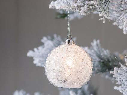 LED Hänger SCHNEEBALL LINT 6 cm Tannenbaumkugel Geschenk Anhänger Weihnachten