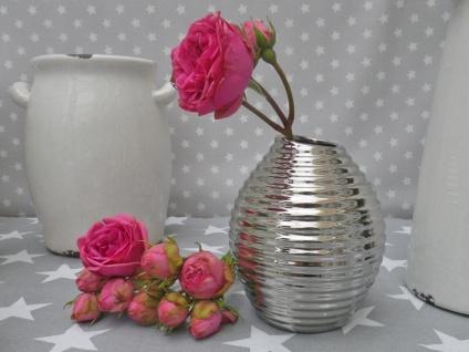 Vase SMILE silber Blumenvase Keramik 13 cm Deko in silber