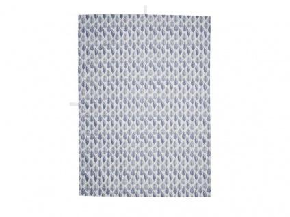 A Simple Mess Geschirrtuch ELINE Grau Blätter Blau Baumwolle Geschirrhandtuch