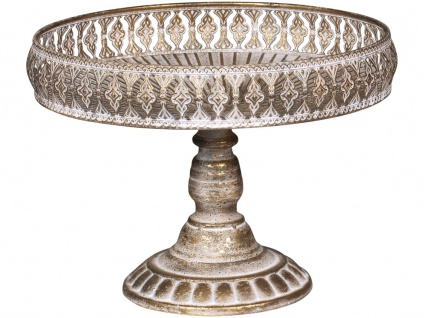 Chic Antique Etagere Antik GOLD Metall RUND 21x30 cm Tischdeko Hochzeitsdeko
