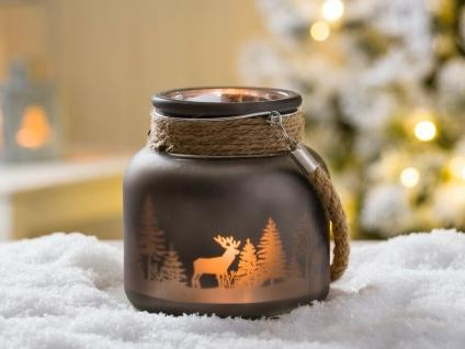 Windlicht WINTERWALD mit Kordel dunkelgrau 12 cm Hirsch Motiv Glas