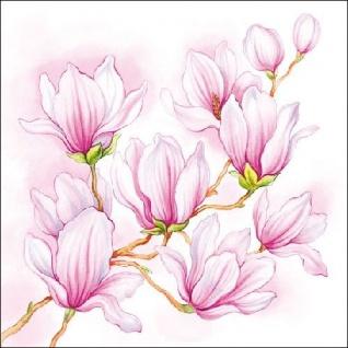 Ambiente Servietten NICE MAGNOLIA Magnolien rosa weiß Blumen 20 Stück 33x33