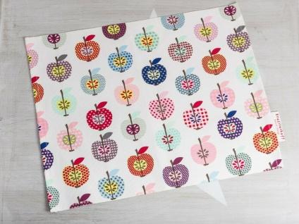 Krasilnikoff Tischset ÄPFEL Baumwolle weiß mit bunten Äpfeln Platzset