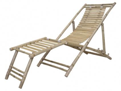 Chic Antique Liegestuhl LYON Bambus mit Fußstütze Gartenstuhl Liege klappbar