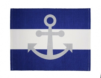 Krasilnikoff Tischset ANKER Blau Weiß Maritim STREIFEN Baumwolle Platzset