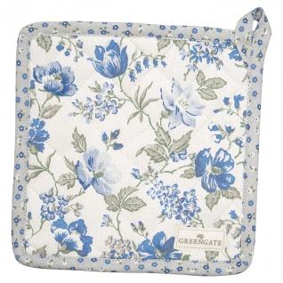 Greengate Topflappen DONNA Blau 2er Set mit Blumen Baumwolle 20x20 cm