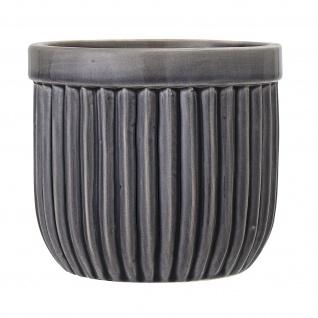 Bloomingville Blumentopf Grau 14.5 cm Übertopf Keramik Topf Rillen Design Deko