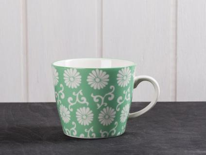 IB Laursen Becher LIVA grün weiß Blumen Muster Tasse mit Henkel