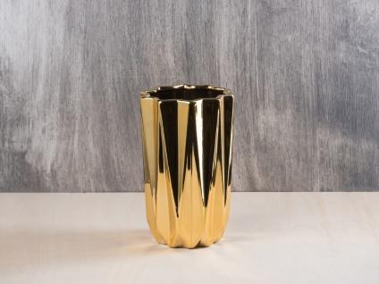 Bloomingville Vase Vertikal Rillen Struktur Gold Porzellan 20 cm Blumenvase