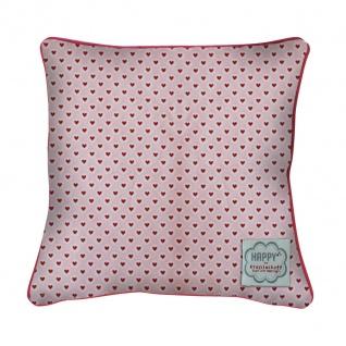 Krasilnikoff Kissenhülle 50x50 HERZEN rosa rot Herz Kissenbezug pink