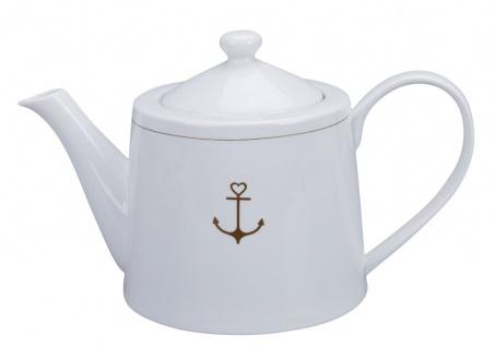 Krasilnikoff Teekanne mit ANKER in Gold Porzellan Tee Kanne 1 Liter Weiß
