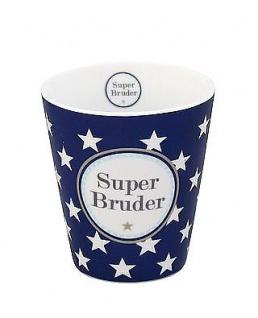 Krasilnikoff Becher Happy Mug SUPER BRUDER Dunkelblau Sterne Porzellan Tasse