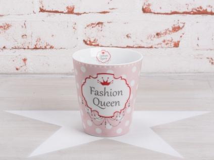 Krasilnikoff Happy Mug Becher FASHION QUEEN Rosa mit weißen Punkten rote Krone