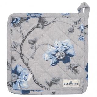 Greengate Topflappen CHARLOTTE Grau Blau 2er Set mit Blumen Baumwolle 20x20 cm