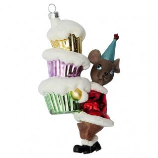 Greengate Tannenbaumhänger MAUS ROT Rot Cup Cakes Christbaumschmuck Weihnachtskugel