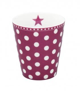 Krasilnikoff Becher Happy Mug PUNKTE Pflaume Tasse Porzellan Kaffeebecher - Vorschau