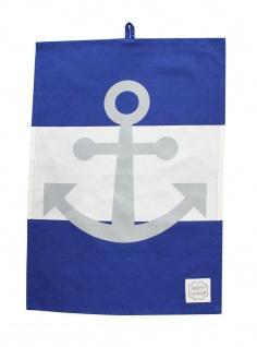 Krasilnikoff Geschirrtuch Anker dunkelblau weiß Streifen maritime Deko Geschirrh