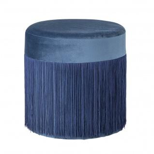 Bloomingville Pouf Grandma Blau 39 cm Fransen Sitzpuff Hocker Samt Beistelltisch
