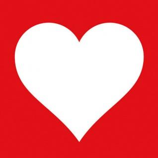 Ambiente Servietten HEART RED 20 Stück rot Herz weiß 3-lagig 33x33 cm Papier