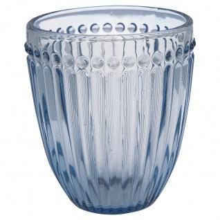 Greengate Glas ALICE Blau Wasserglas 300 ml Trinkglas Saftglas