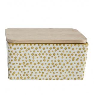 Bloomingville Butterdose Keramik Gelb Weiß Holzdeckel Bambus Dose mit Deckel
