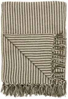 IB Laursen Plaid Olive / Creme Streifen Muster 130x160 Wolldecke Fransen Decke