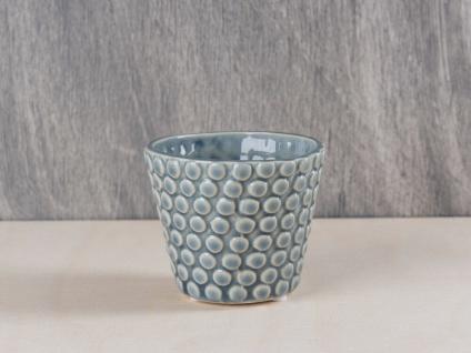 Bloomingville Votive Kerzenhalter Punkte dunkelgrau Teelichthalter Keramik grau