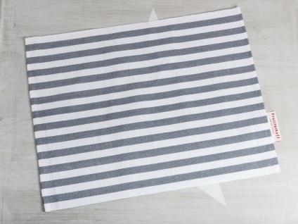 Krasilnikoff Tischset STREIFEN Dunkelgrau Baumwolle weiß grau gestreift Platzset