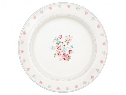 Greengate Essteller SONIA Weiß Rot 26 cm Porzellan Teller Geschirr Blumen