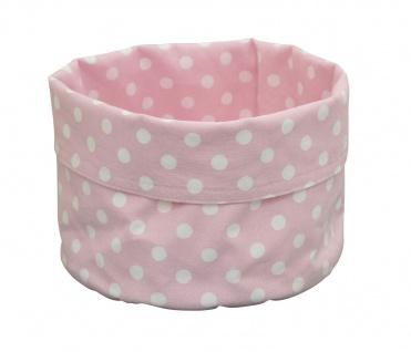 Krasilnikoff Brotkorb PUNKTE Rosa Baumwolle pink weiß gepunktet 20x16 cm