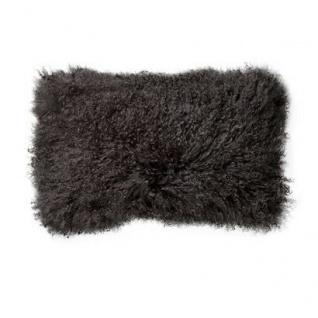 Bloomingville Kissen Mongolisches Lammfell grau Fellkissen 35x35 Füllung