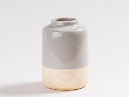 Vase SARAH Grau Keramik Holz Optik Blumenvase 16 cm Hellgrau 2-farbig