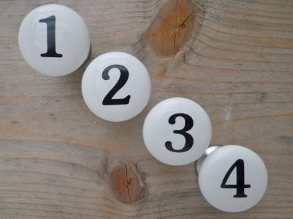 Möbelgriff NUMBERS 4er Set Möbelknöpfe Porzellan weiß ZAHLEN 1-4 schwarz Nummern