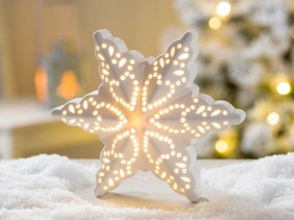 LED Aufsteller STERN EMILIA Porzellan weiß Licht 16 cm Weihnachten Deko Objekt