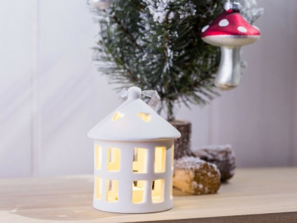 """Tannenbaum Schmuck """" Haus"""" mit LED Licht rund Weihnachtsdeko Fenster Deko"""